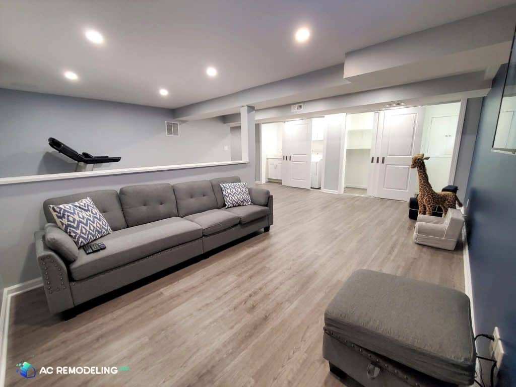 basement living room area