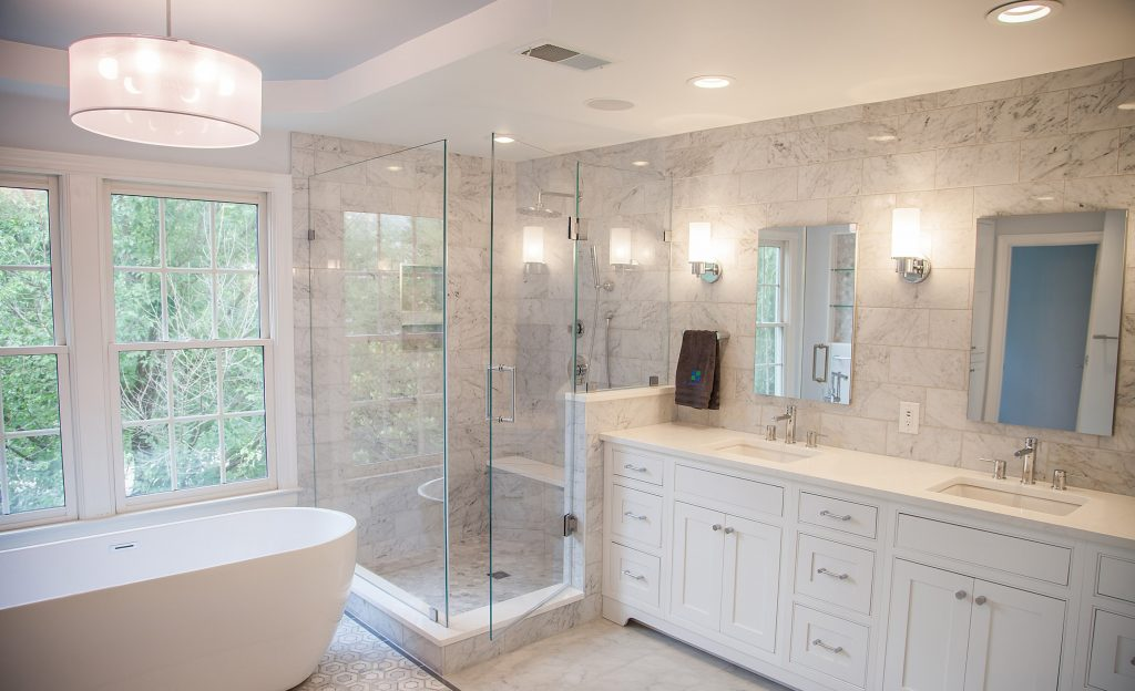 Double White Vanity in Master Bath