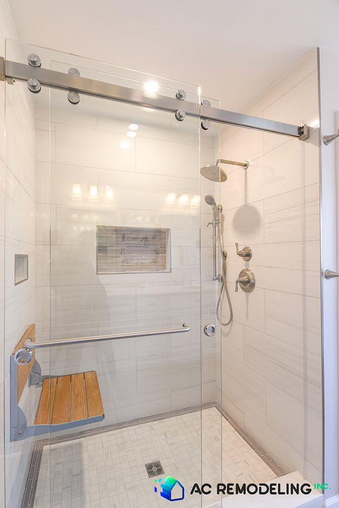 Master Bathroom Shower with Folding Shower Seat