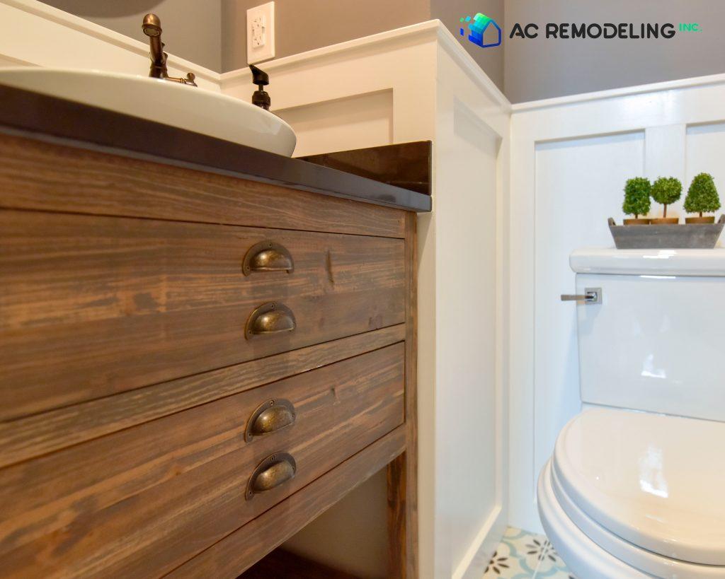 Wood Sink in Half Bathroom