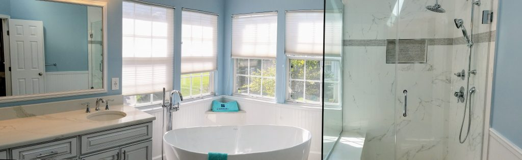 Blue and White Themed Master Bathroom