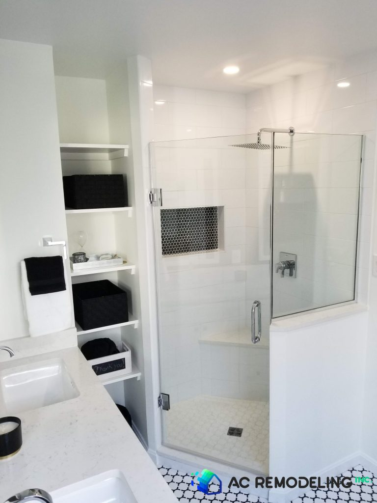 Walk-in Shower with Black Tile Accent