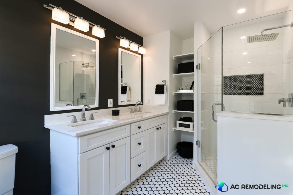 Black and White Master Bath with double bowl sinks