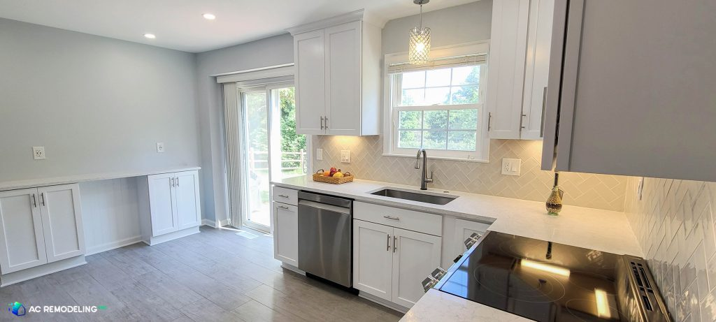 custom grey and white kitchen