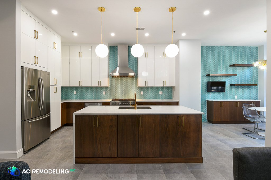 modern kitchen with center island by AC Remodeling