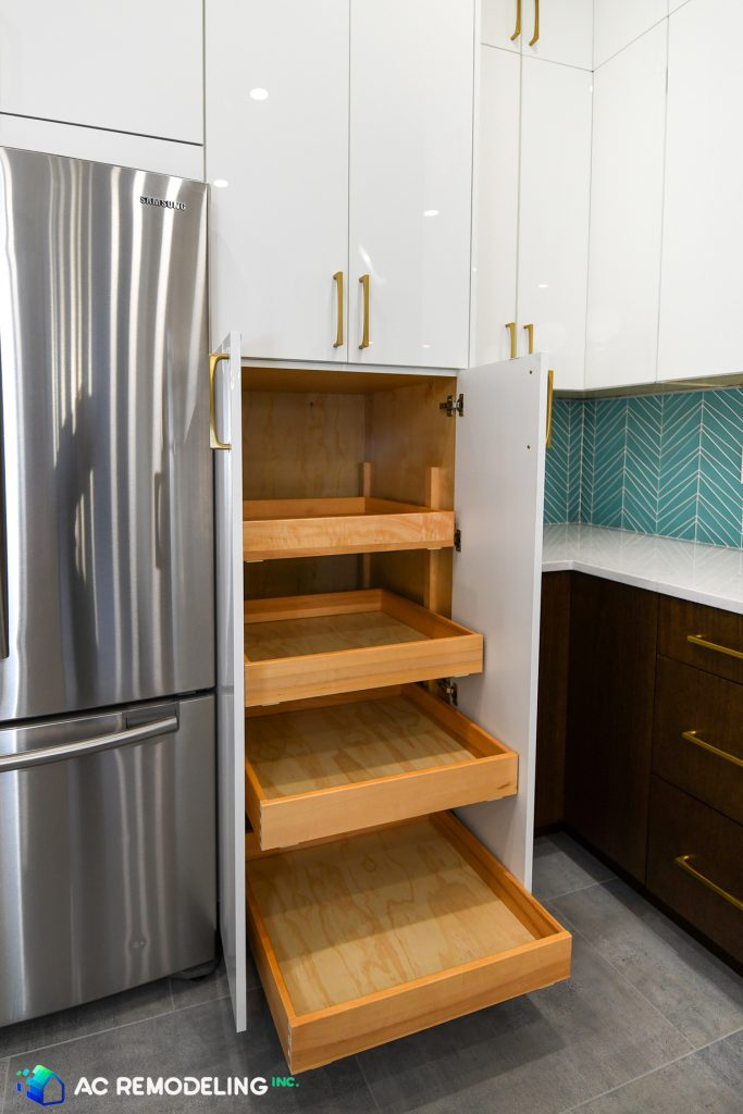 custom kitchen with pull-out pantry shelves