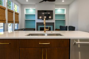 beautiful sink and cabinets in custom kitchen