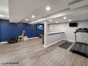 remodeled basement with a treadmill and a toy giraffe, kids' chairs