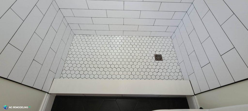 new white shower tile