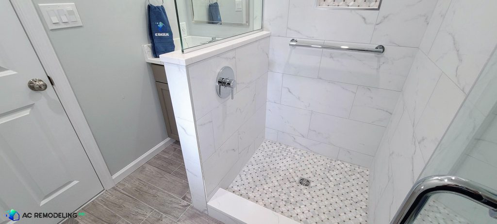 white and neutral bathroom detail