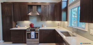 kitchen with brown cabinets and white countertop