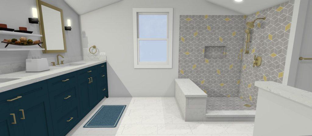 Custom 3D Design of Master Bathroom