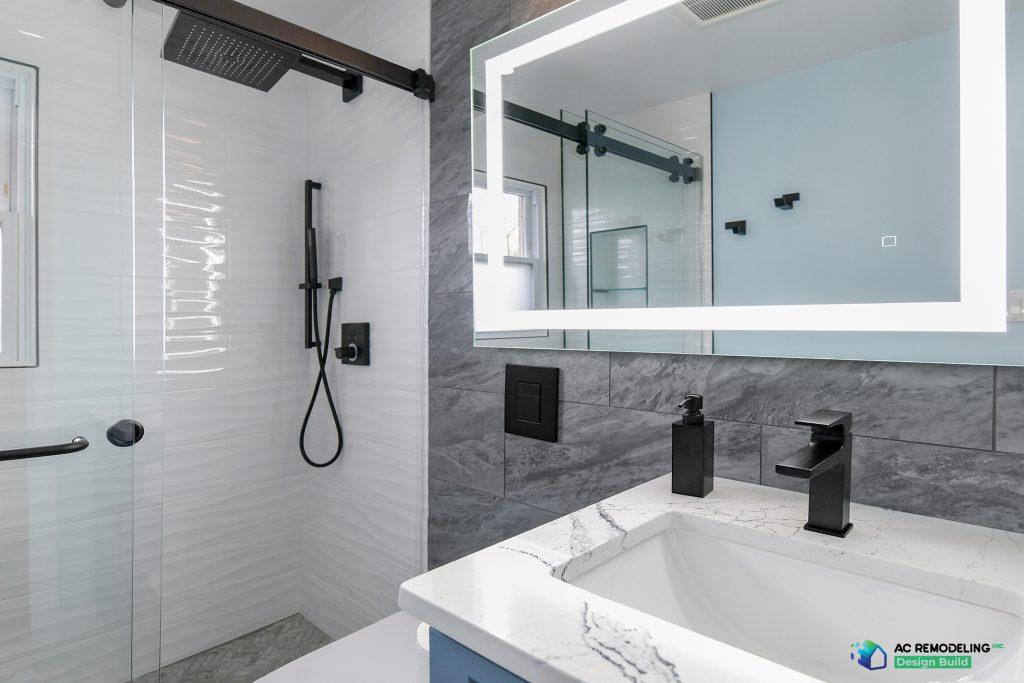 white and blue modern bathroom